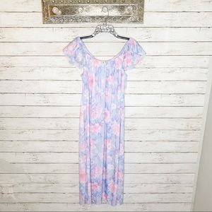 Miss Elaine Classics Pastel Floral Long Nightgown